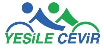 Yeşile çevir proje logosu. Üstte Derneğin klasik logosuna bir gönderme varken altta Eşpedal yerine Yeşile çevir yazmakta Yeşil yazısı yeşil,çevir yazısı ise mavi renk